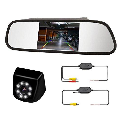 """Cámara de Marcha atrás inalámbrica - Pantalla 4.3""""LCD en el Espejo retrovisor - Visión Nocturna 8 LED - Impermeable - Lineas de guía - Asistencia de estacionamiento - ITK TECHNOLOGY ITKC650T430WF"""