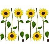 Dekoration Selbstklebend Sonnenblumen, Polyvinyl, gelb, 21x 0,1x 29,6cm
