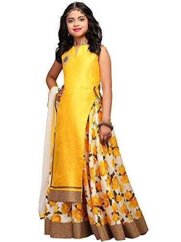 WhiteButton Girl's Yellow Floral Print Bhagalpuri Silk ReadyMade Partwear lehenga Choli For...