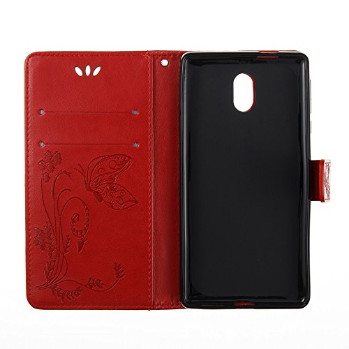EKINHUI Case Cover Horizontale Folio Flip Stand Muster PU Leder Geldbörse Tasche Tasche mit geprägten Blumen & Lanyard & Card Slots für Nokia 3 (N3) ( Color : Gray ) Red
