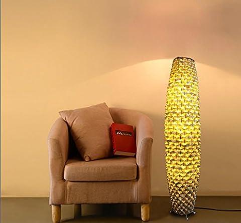 Floor Lamp Bamboo Sticks Weaving by Hand High Quality Bamboon Material Steady Iron Pedestabl E27 220V 90cm/120cm Height 120cm