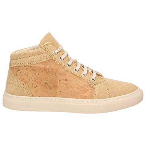 ZWEIGUT® -Hamburg- echt #403 Damen High-Top Kork Sneaker vegan Schuhe mit Canvas und recycelter Sohle, Schuhgröße:39, Farbe:sand-kork - 2