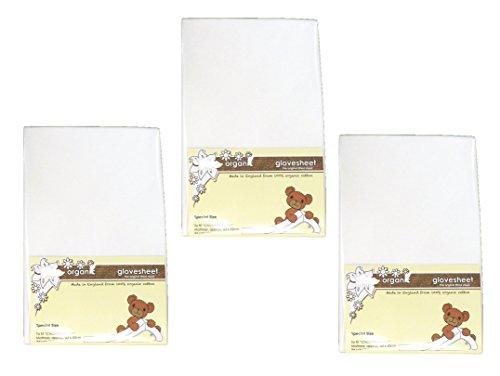DK Glovesheet - Bio Drap-housse en 100% Coton Organique pour Matelas du Berceau de Chevet (Blanc - Triple Pack)