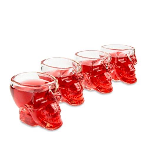 4 Rocks Gläser (4er SET Skull-gläser (60ml), 3D Totenkopfgläser für die Hausbar, Party, Halloween, Geschenk im Totenkopfdesign, für Vodka, Whiskey, Likör, Totenkopf, Schnapsglas, Rock, Metal, Farbe: transparent)