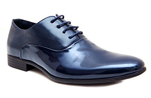 Scarpe eleganti uomo blu scuro linea classica lucide cerimonia (43)