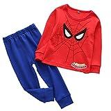 CDREAM 2-7 Ans Schlafanzüge Kinder Lange Spiderman Ärmel Jungen Pajama Sets Baumwolle Nachtwäsche,Spiderman-90