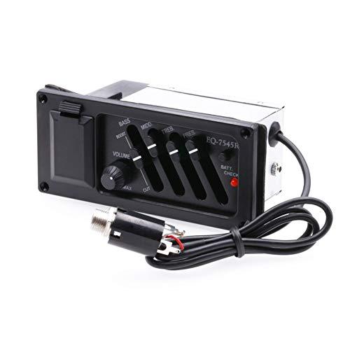 YUnnuopromi 4 Bands Piezo Pickup Akustikgitarren Verstärker Equalizer Tuner Control Preamp 10.5 cm x 4.7 cm x 6cm