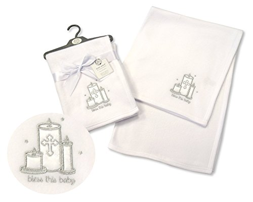 Baby coperta regalo battesimo, colore: bianco con ricamo e Applique - Blanket Nursery Bedding