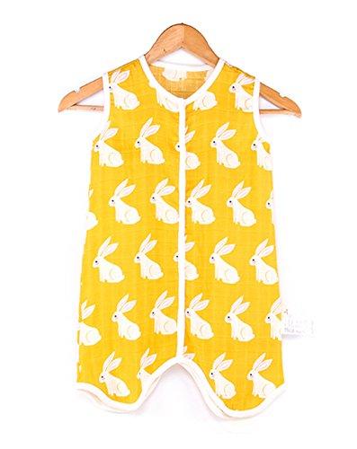 Chilsuessy Baby Sommer Schlafsack Kleine Kinder Ärmellos Schlafanzug 0.5 Tog Kind Strampler mit Füßen für Jungen und Mädchen, Kaninchen, M/Koerpergroesse 65-75cm -