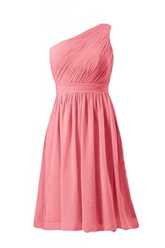 daisyformals courtes vintage robe de demoiselle d'honneur parti une épaule robe (bm10822s) Rouge - #14-Light Coral
