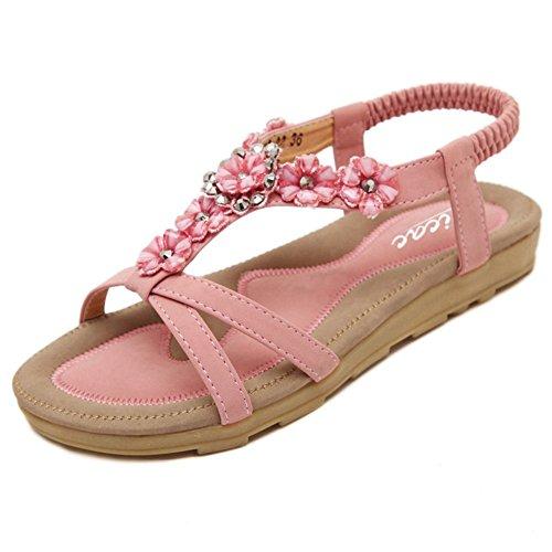 Zicac Damen Sandalen Freizeit Blumen-Stil Sandalen Sommer Schuhe Rosa