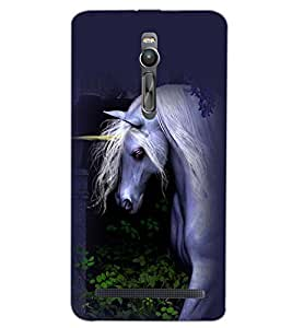 PrintDhaba WHITE HORSE D-6198 Back Case Cover for ASUS ZENFONE 2 (Multi-Coloured)