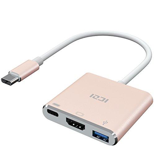 ICZI USB C zu HDMI Adapter,4K USB Typ C zu HDMI Multiport AV-Konverter 3 in 1 mit USB 3.0 Anschluss und USB C Schnellladeanschluss für MacBook/Pro, Chromebook Pixel und andere USB C Geräte Multiport-anschluss