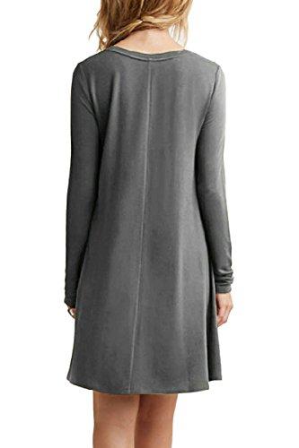 OMZIN Frauen Langarm Casual lose Swing Kleid Plus Größe 2XS-4XL Grau