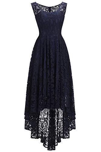 Babyonlinedress® Damen Elegant Spitzenkleid Unregelmässig Hem Abendkleid Cocktailkleider Partykleider Dunkelblau 54