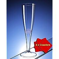 50 x de copas de champán fabricado en plástico de alta calidad 160 ml (6 oz). Ideal para picnics, acampada o glamping, festivales, al aire libre de billar, barbacoa, diseño de flores y cualquier otra ocasión. Para ofrecer de 50 AIOS bebidas we R sports 4 x gafas en caja de madera.