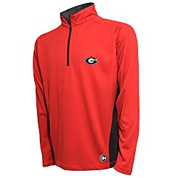 NCAA Georgia Bulldogs Men's Textured Quarter Zip Pullover, Small, Red/Carbon