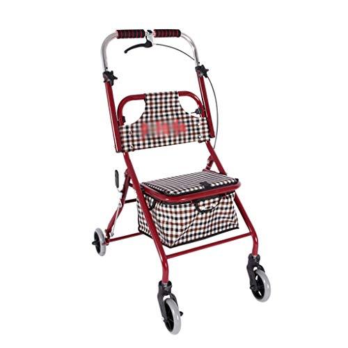 Einkaufstrolleys Einkaufswagen Zusammenklappbarer Einkaufswagen Kann Sitzen Schieben Vier Runden Kaufen Lebensmittel Taschen (Color : Red, Size : 44 * 68 * 86cm)