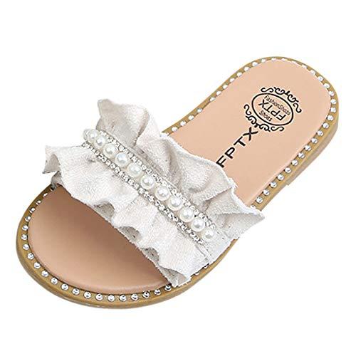Mädchen Flip Flops Sommer Sandalen Hausschuhe Kinder Pantoletten Strand Badelatschen Atmungsaktiv Anti-Rutsch Flache Badeschuhe Slipper Sandalen Baby Prinzessin Schuhe mit Strass Perle Dekoration