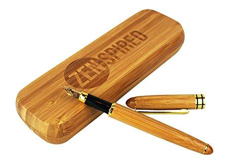 zenspired I Luxus Füllfederhalter, mittelgroße Feder I 100% Bio Natur Holz Bambus Geschenk Set I mit Tinte Konverter und Fall I Kalligraphie & Schreiben I