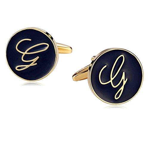 Daesar Schmuck 1 Paar Herren Edelstahl Manschettenknöpfe Runder Personalisierter Brief Gold Blau Hochzeit Cufflinks