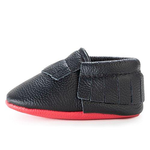 BirdRock Baby Mokassins weichen Sohle Leder Boys und Girls Schuhe für Kinder, Babys und Kleinkinder (Baby 06 Monate US 2, schwarz und rot) (Jane-schwarz, Kleinkind Mary Schuhe)