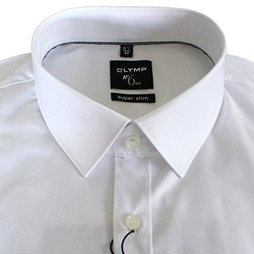 OLYMP Herrenhemd No6 six, super slim, Urban Kent, weiß + 1 Paar hochwertige Socken, Bundle Weiß