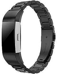 Simpeak Compatible Fitbit Charge 2 Correa (5.5-8.1 Pulgadas), Correa de Acero Inoxidable Reemplazo Wristband Pulseras de Repuesto Bandas Fitbit Charge 2 Fitness,Negro