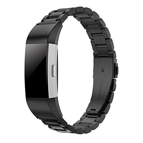 Simpeak Ersatz Fitbit Charge 2 Armbänder Schwarz, Edelstahl Metall Ersatz Uhrenarmband Band Straps Ersatz Fitbit Charge 2