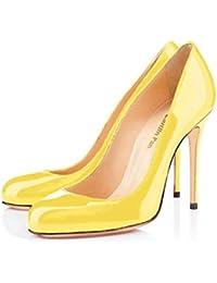 Caitlin Pan Mujeres Stiletto Heels Punta Redonda Slip On 10CM Bombas de tacón Alto Sexy para Zapatos de la…