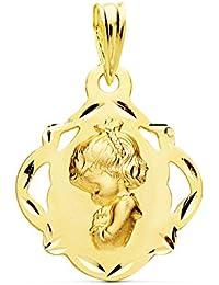 Medalla Virgen Niña Calada Oro Amarillo 18 Kilates 16mm - Joya Personalizable, Grabado gratuito
