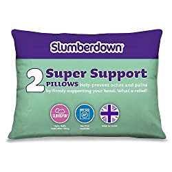 Slumberdown Super Support Pillow, Pack of 2, Suitable for Back and Side Sleepers