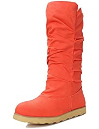 QIN&X Women's Round Toe talons talon bloc long. Chaussures ,marron, 36