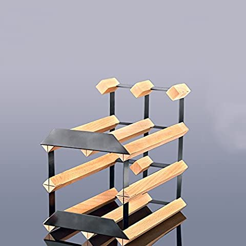 New Real Wooden Rustic Wine Rack Innovation Two layers Iron