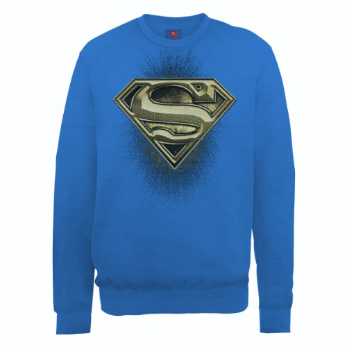 DC Comics Herren, Sweatshirt, DC0000896 Official Superman Engraving Logo blu (Royal Blue)