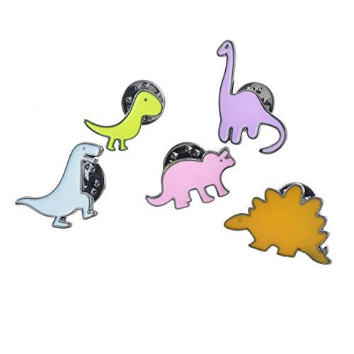 5 Stück Kinder Anstecker Pins Set Emaille Süß Cartoon Dinosaurier Stecker Steckernadel