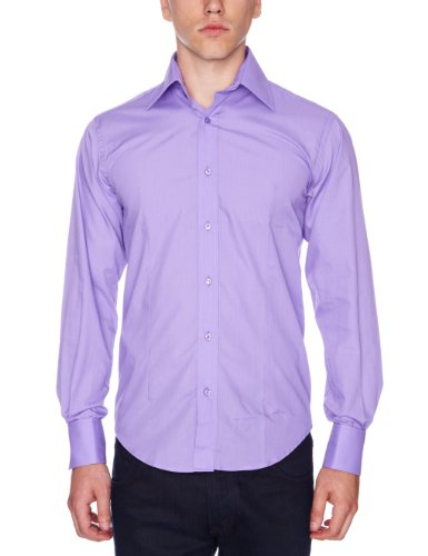 Guide London - Camicia, uomo Viola (Dark Lilac)