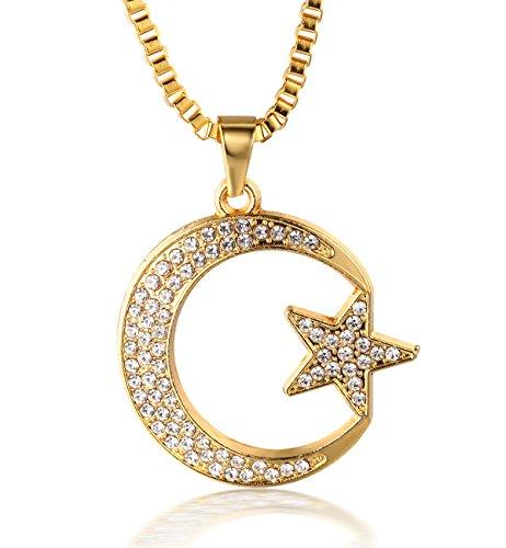 """Halukakah ● Allah ● Männlich 18k Echt Vergoldet Islam Moon Star Anhänger Künstliche Diamanten Gesetzt Halskette mit Kostenloser Kasten Kette 30\"""""""