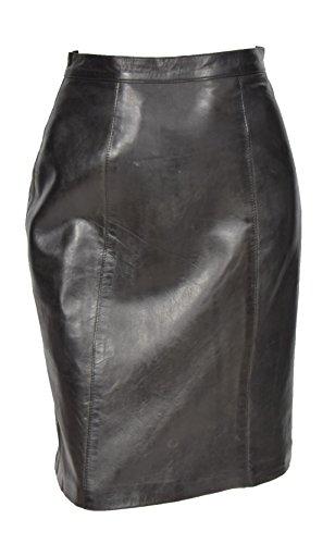 Echtes weiches Leder der Frauen Rock schwarz gerade geschnitten Bleistiftrock Zurück Entlüftung - Lucy (40) (Weiches Rock Leder)