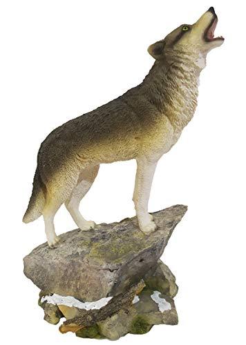 HOMERRY Estatua Lobo Aullando Roca decoración cabañas