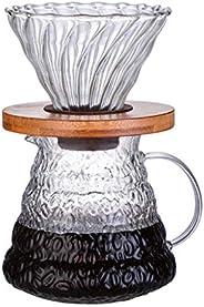 ماكينة تحضير القهوة بالتقطير في 6، وعاء لتقديم القهوة بسعة 600 مل مع فلتر تقطير زجاجي، منقط قهوة وابريق زجاجي