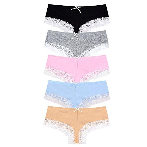 Bezioner Algodón Bragas,Pantalones de Mujer Señoras Sexy Encaje Bikini Ropa Interior (Pack de 6/5/4/3) (Medium, Pack de 5 algodón Bragas)