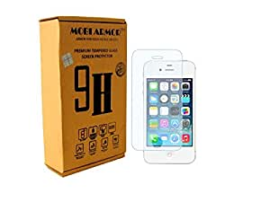 MOBI ARMOR® Premium Curved Tempered Glass Screen Protector for Apple iPhone 4/4S [ 2.5D Curved Edge,0.3 MM ] [ Easy Install ] [Anti Scratch ] [ HD ] [ Shock Resistance ] - Protect your screen from Scratches & Drops - Maximize your resale value - 100% clarity and touch Screen Accuracy