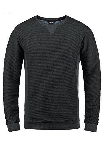 !Solid Rico Herren Sweatshirt Pullover Pulli Mit Rundhalsausschnitt, Größe:L, Farbe:Dark Grey Melange (8288) - Grau Fischgrat-jacke
