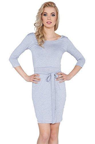 Futuro Fashion Damen Gebunden Mini Kleid Mit Taschen 3/4 Ärmel Boot Ausschnitt Tunika Größen EU 36-42 8197 Aschgrau