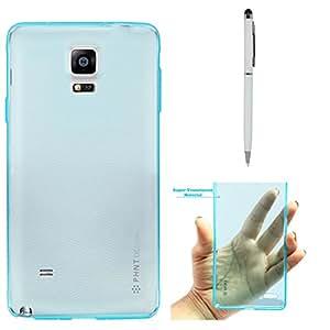 DMG PHNT Premium Scratch-Resistant Ultra Thin Clear TPU Skin Case for Samsung Galaxy Note 4 N9100 (Neon Blue) + Pen Stylus