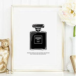 Kunstdruck, Sprüche Poster: Coco Noir Perfume Bottle Illustration   Hochwertiges und festes Premiumpapier   Ohne Rahmen