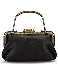 Rohit Bal Leather Women's Bridal & Casual Clutch Bag(Black)