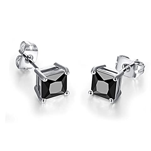 SELOVO Women's Men's Black Zircon Crystal Square 6MM Stud Earrings Silver Tone