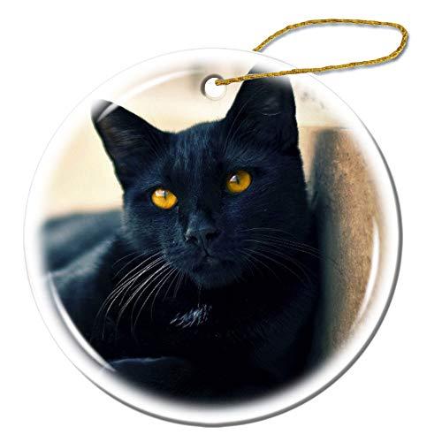 YANAN Schwarze Katze liegend schöne Gesicht Augen Waiting Ornamente Custom Anhänger Deko Souvenirs Handy Deko Handtaschen Deko Keramik rund Ornamente